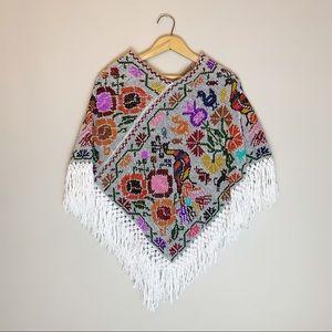 Vintage boho hippie poncho sweater shawl